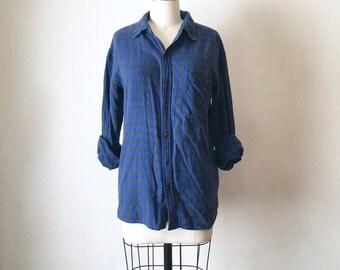 Vintage Blue and Black Plaid Flannel Button Down Shirt