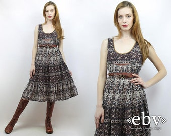 Hippie Dress India Dress Indian Dress Hippy Dress Boho Dress Festival Dress Summer Dress 70s Dress Vintage 70s Indian Cotton Dress S M L