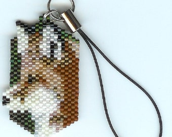 Hand beaded Red Fox Cell phone charm