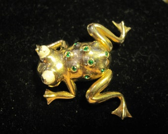 Vintage Trembler Frog with Green Rhinestones and Bulging Eyes by Castlemark REDUCED