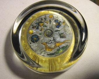 Vintage Daphne Pain Paperweights Table Clock 1610