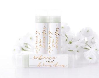 LABELS ONLY - 100 Metallic Foil Wedding Lip Balm Favors - Wedding Chapstick Favors - METALLIC Wedding Stickers