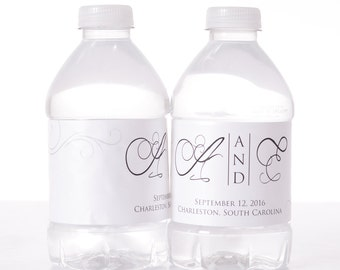 Wedding Monogram - 100 Wedding Water Bottle Labels - Wedding Water Labels - Custom Water Bottle Labels - Waterproof Water Bottle Labels