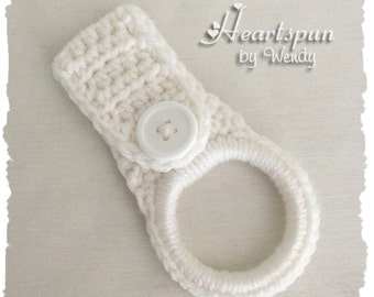 White dish towel or hand towel ring holder, great for holding towels and more in the kitchen, bathroom, garage, laundry, nursery, etc