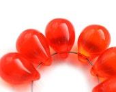 Orange Red Teardrop beads, Large briolettes, Transparent Orange czech glass drops - 10x14mm - 6Pc - 2214