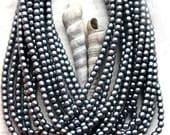 30%OFF SALE Faux pearls, czech beads, Full Strand - Matte dark Grey - tiny spacers, round, druk - 2mm - 150Pc - 1537