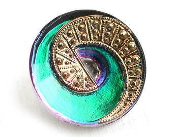 23mm Czech Glass Button, Green Teal Vitrail Golden Spiral Handmade Button bead, size 10, 1pc - 2246