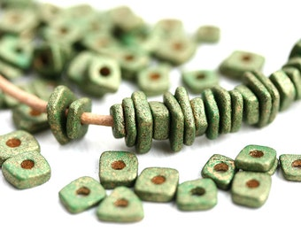 Metallic green chip beads, Greek ceramic spacers, tiny washer beads, 5mm - approx.70pc - 1419