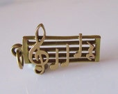 9ct Gold Musical Notes  3D Charm or Pendant