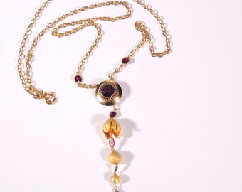 Antique Gold Tone Dangle Necklace Lily Of The Valley Dangle Necklace  French Victorian Jewellery