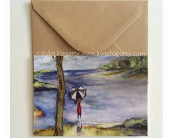 Fine Art Greeting Card, Bird, Contemporary Landscape, Figurative, Cabin, Umbrella, Kylie Fogarty, Blank Greeting Card