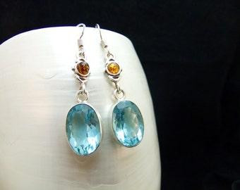Amber & Blue Quartz Silver Drop Earrings