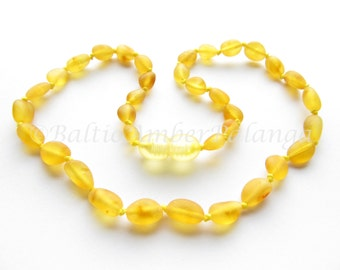 Baltic Amber Teething Necklace, Raw Unpolished Lemon Color Olive Shape Beads