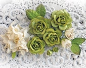 Reneabouquets Wild Roses, Gardenia And Leaves Flower Set-Mulberry Paper Flowers - Olive And Ivory Set Of 13 Pieces In Organza Bag