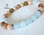 Inner Healing, Aquamarine,  Multicolor Agate, Yoga bracelet, wrist Mala, Multicolor bracelet, Healing bracelet, energy bracelet, Yoga mala