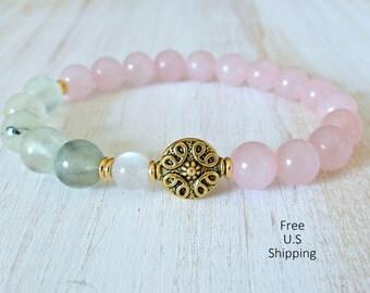 Prehnite bracelet, Rose Quartz, mooonstone, gemstone bracelet, mala, Yoga Bracelet, Meditation bracelet, Reiki, healing,  prehnite bracelet