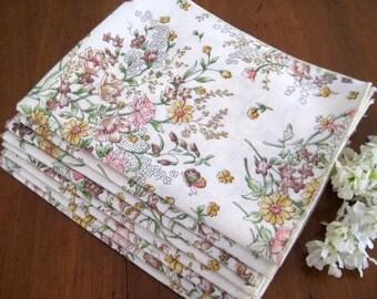 8 Vintage Dinner Napkins, Flower Print, Pink, Green, Tan, Yellow, Cotton Blend
