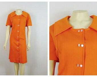 Vintage Plus Size Dress 60s 70s Plus Size Vintage Dress Orange Mad Men Dress Secretary Dress Mod Dress XL - XXL 1X
