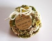 SHOP CLOSING SALE Flower Face Scrubby Set . Set of 3 . Crochet . 100 Percent Cotton .Green, Yellow & Beige