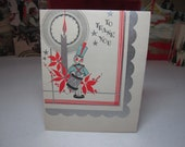 Art deco silver gilded 1930's thank you, and happy new year card cute toy soldier playing a drum next to a lit candle,poinsettia,holly berry