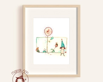 Bumble Bee Blossom -Nursery Decor - Fine Art print -Kids room decor - adorable baby girl illustration