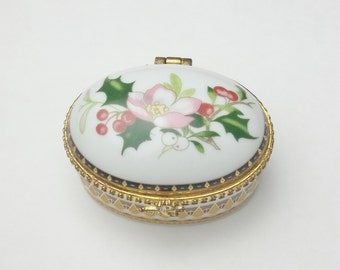 Vintage Gold Trim Pink Flowers Holly Berry Ceramic 1980's Keepsake Trinket Box Christmas Box Gift For Her on Etsy