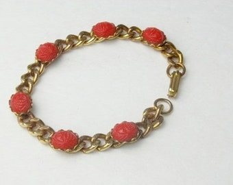 Red Scarab Rose Gold Flat Chain Lucite Plastic Vintage Costume Jewelry Bracelet on Etsy