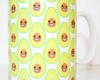 Happy Avocado Printed Mug Cute Vegan Vegetarian Gift Health Food Guacamole Emoji Coffee Tea