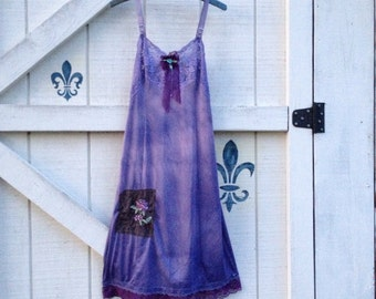 Slip dress S, hippie slip gypsy artsy dress sundress upcycled slip jacket included
