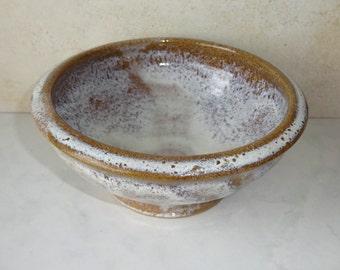 Vintage Stoneware Bowl Ceramic Dish Grey Brown Round Signed