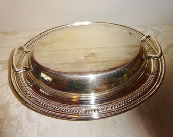 Vintage Silverplate Tureen Casserole with Lid Large Oval National Silverplate