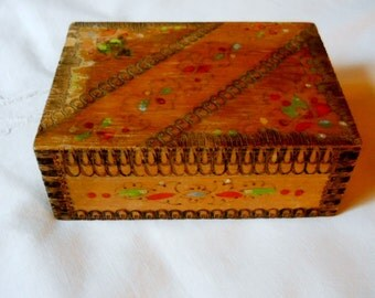 Vintage Wood Rustic Trinket Treasure Box with Carved and Hand Painted Details