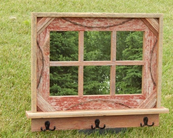 Barnwood Framed Mirror with 6 panes and barbwire