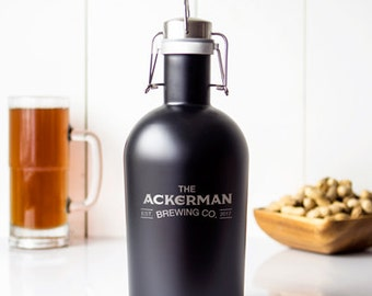 64 oz Personalized Engraved Black Stainless Steel Growler