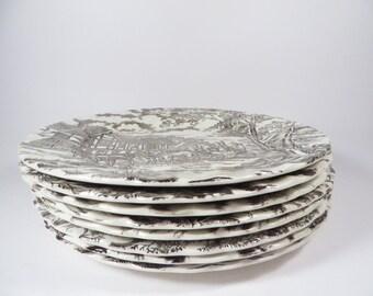 Vintage Myott Royal Mail Staffordshire Ironstone Set of 8 Dinner Plates