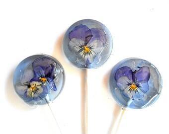 Spring Showers, PURPLE, EDIBLE VIOLA Lollipops, Flower Lollipop, Blueberry Ice, Viola Party Favor, Sweet, Wedding Party, Baby Shower 25
