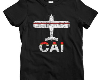 Kids Fly Cairo T-shirt - CAI Airport - Baby, Toddler, and Youth Sizes - Cairo Egypt Tee, Egyptian, Travel, Gift - 2 Colors