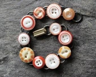 Antique China Stencil Button Bracelet, 1800s