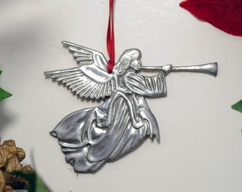 Trumpeting Angel Christmas Ornament made from Fine Pewter in America