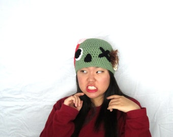 Cute Kawaii Green Zombie Undead Crochet Hat Beanie Cap, Ready to Ship