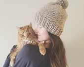 Chunky Knit Pom-Pom Hat Slouch Beanie   Taupe Brown   Vegan Yarn