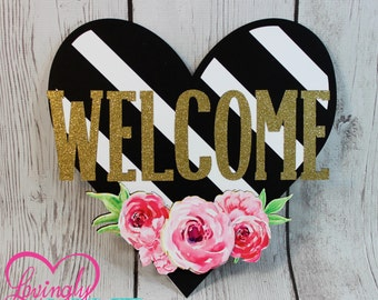 Welcome Door Sign in Hot Pink, Black & White Stripes and Glitter Gold - Bridal Shower, Birthday, Baby Shower, Sweet Sixteen, Bachelorette