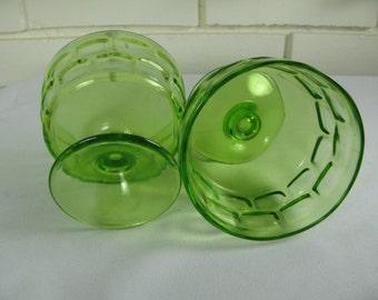 Vtg green sherbert bowls