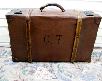 Antique wood and leather trimmed paper suitcase