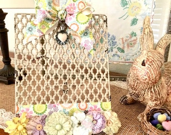 Shabby Photo Stand Farmhouse Decor Distressed Photo Frame Cottage Chic Pastel Flower Photo Holder Easter Mother's Day Gift Idea Under 30