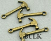 Hammer Tool Charms BULK order Antique Bronze 40pcs zinc alloy beads 12X25mm CM0540B