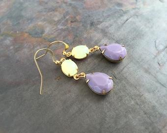 SALE - Womens Earrings - Lavender Jewelry - Teardrop Earrings - Opal Jewelry - Gold Earrings - Pear Shaped Jewelry