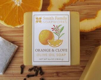 Orange & Clove Olive Oil Soap - Natural Soap, Handmade Soap, Olive Oil Soap Bar, Cold Process Soap