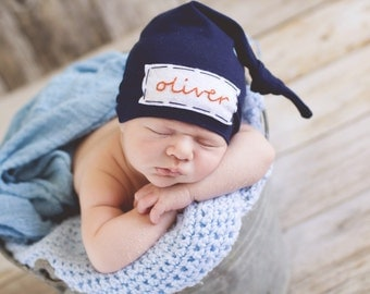 newborn boy coming home outfit - baby knot hat name - monogramed hat - personalized newborn hat - hospital hat - newborn photo prop