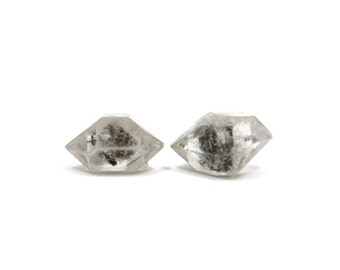 Herkimer Diamond Style Tibetan Quartz Double Terminated 2 Raw Crystals 23mm and 24mm Natural Rough Stone for Jewelry Making (Lot 9653)